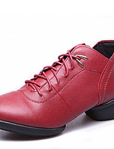 ShangYi Chaussures de danse ( Noir / Rouge ) - Non personnalisable - Talon bas - Cuir - Baskets de Danse / Moderne