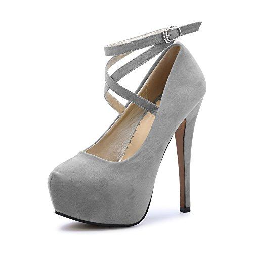 OCHENTA Damen Glitzerschuh Bride Knöchel sexy High Heel Plattform Dick Schnürverschluss Schuhe Club Soiree, #2 Gris - Größe: Asiatique 43-EU Taille 42.5 Heel-plattform