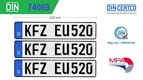3X KFZ Kennzeichen Standard Größe EU520x110x1mm Autokennzeichen Wunschkennzeichen Saisonkennzeichen Nummernschild PKW Kennzeichen Fahrradträger Anhänger Elektro Auto Oldtimer