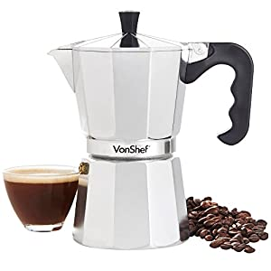 VonShef 6 Cup/300ml Italian Espresso Coffee Maker Moka Stove Top Macchinetta Includes a Replacement Gasket and Filter by VonShef