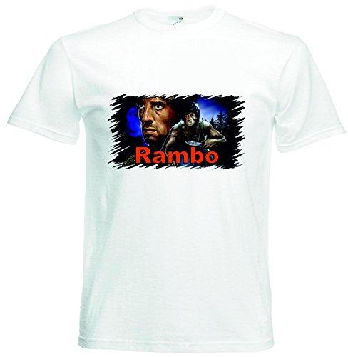 T-Shirt Rambo Fanshirt für Echte Fans Mot04 Farbe Weiß für Frauen Männer und Kinder Weiß