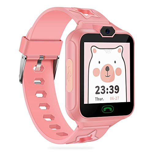 AGPTEK Smartwatch Niños con 8GB SD Tarjeta, Reloj Inteligente para Niños con Hacer Llamada, SOS, Cámara, Música, Juegos y Despertador, Regalo para Niño Niña de 3-12 años, Rosa
