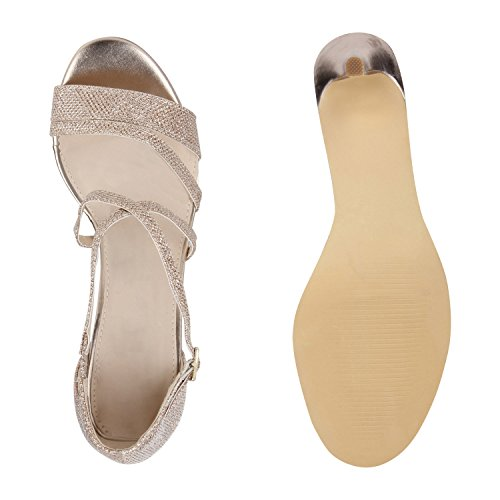 Damen Riemchensandaletten | Glitzer Sandaletten Metallic | Stilettos High Heels | Sommer Party Schuhe | Abiball Hochzeit Brautschuhe Gold