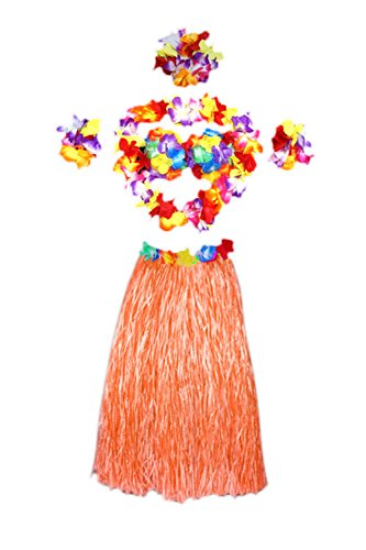 Frauen 6 Pieces Floral Elastischen Bund Kostüm Gras - Rock Hula Orange One Size