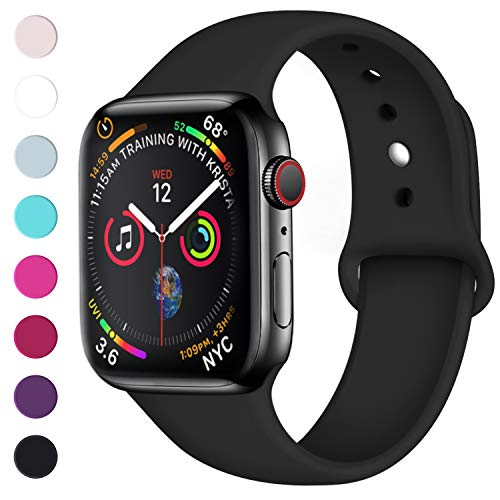 Lerobo Sport Correa para Apple Watch Correa 38mm 42mm 40mm 44mm, Pulsera de Repuesto de Silicona Suave Correa para Apple Watch Series 4, Series 3, Series 2, Series 1, 42mm/44mm S/M Nero