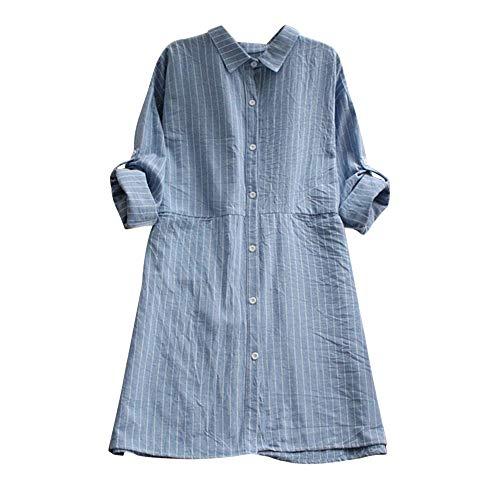 iHENGH Damen Herbst Winter Bequem Lässig Mode Frauen Mode Frauen Taschen Kleid Langarm Baumwolle Leinen Gestreifte Tageskleider(L,Blau)