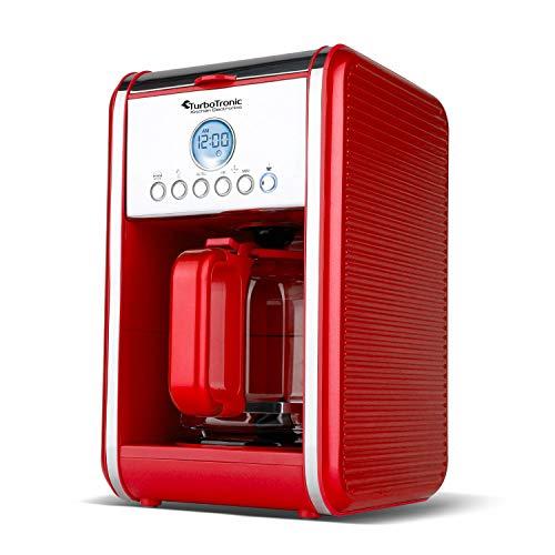 Retro Kaffeemaschine für 12 Tassen (1,6 L) inklusive Dauerfilter und Warmhalteplatte,...