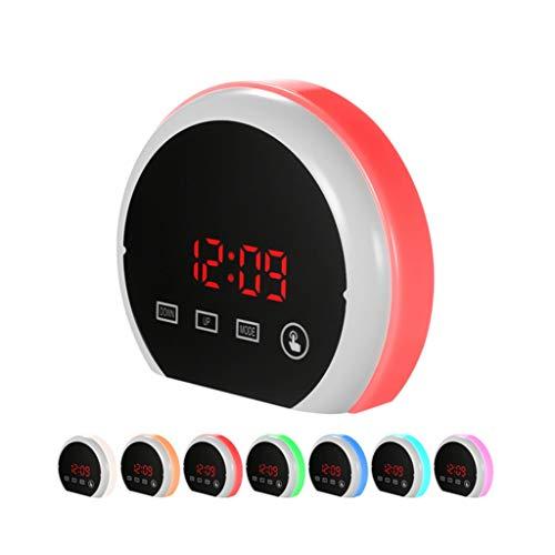 Unbekannt Wecker Wake Up Light Dimmable Snooze Sieben-Farben-Hintergrundbeleuchtung Touch Control Temperaturanzeige for Schlafzimmer Kinder Student Tischuhr (Color : Red, Size : 13.5 * 4.5 * 11.5cm)