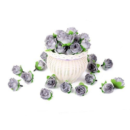 WINOMO 50 pcs 3 cm Têtes de fleurs artificielles roses Décoration de mariage (Gris)