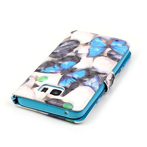 Qiaogle Telefon Case - PU Leder Wallet Schutzhülle Case für Apple iPhone 7 (4.7 Zoll) - YB14 / Paris Turm YB18 / Retro Blau Schmetter
