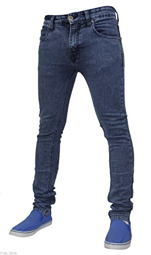 Herren TRUE Face Super Skinny Slim Fit dehnbar Jeans Denim Baumwolle Hose TF021 - Mid Blue