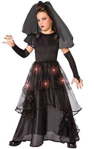 (Karneval-Klamotten Horror Braut Kostüm Kinder mit Licht Größe 140-152)