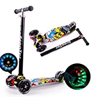 AM ANNA Kids Scooter 3 Wheel Mini Adjustable Kick Scooter with LED Light Up Wheels(Black Yellow)