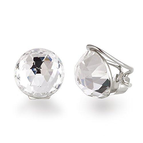 Schöner SD, Ohrclips aus 925 Silber mit 12mm großen funkelnen Kristallen von Swarovski®