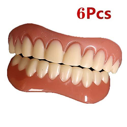 WOkismx 6 Piezas carillas dentales Comfort Fit Teeth Top carilla cosmética Un...