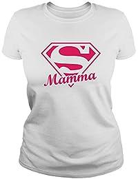 IDEAMAGLIETTA MAM0008 Maglietta t-Shirt Donna Super Mamma 1 Festa della Mamma Regalo Pensiero Divertente