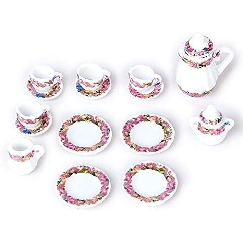 SUOSI 1 Set 15pcs Dollhouse piatto di porcellana piatto tazza Imposta Rose stampa floreale in miniatura Dollhouse pranzo Ware