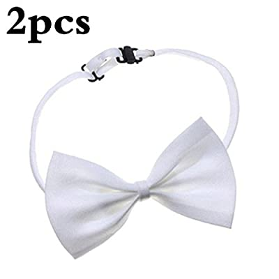 V-EWIGE 2pcs Elegant Dog Puppy Cat Bowknot Bow Tie Adjustable Animal Necktie Neck Safety Bowtie Pet Small Dog Costume Collar Perfect for Wedding/Tie Party Accessories by SamGreatWorld : everything five pounds (or less!)