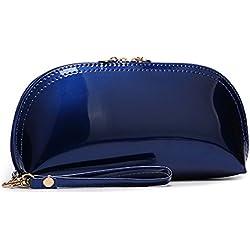 AiSi damen Lackleder spiegelte Clutch Geldbörse Geldbeutel Unterarmtasche Damentasche Handtasche Abendtasche Sonnenbrille Tasche für Hochzeit Party, mit Reißverschluss, Blau