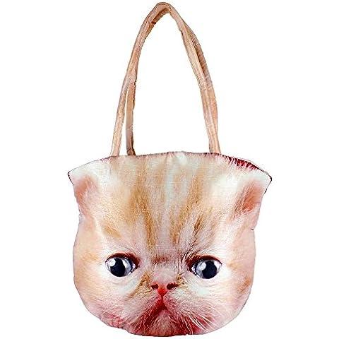 Gráfico Digital cara del gato india Bolso - Todo sobre la impresión - Poliéster Dupion de imitación de seda - 12 x 12 x 24 pulgadas