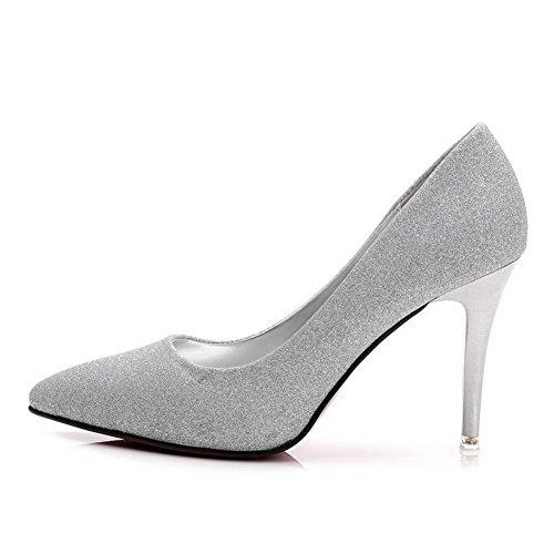 AalarDom Femme Stylet Matière Souple Couleur Unie Pointu Chaussures Légeres Argent-Tissu à Paillette