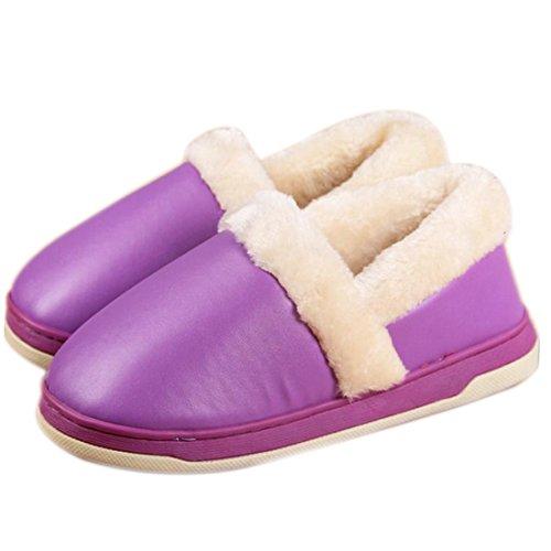 Fasion Nouveau Hommes Femmes Douce Et Chaude Interieure Chaussons Cotton House Accueil Antiderapants Chaussures Mauve