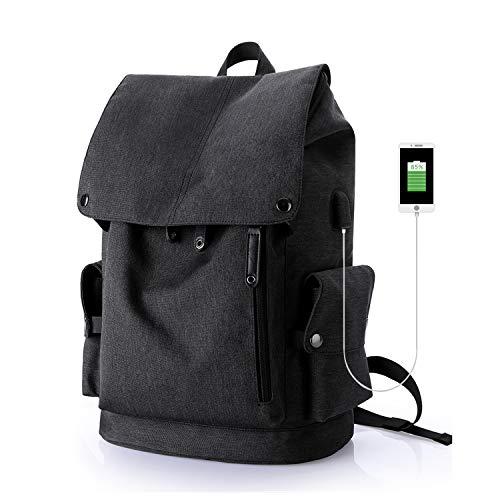 Wind Took USB Anschluss Laptop Rucksack Damen Herren Daypack Schulrucksack für 15,6 Zoll Notebook, Wasserabweisend, Schwarz