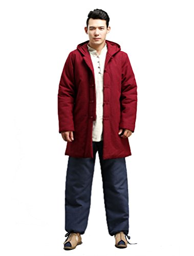 Vogstyle Uomo Nuovo Cappotti Giubbino D'inverno Lungo Lento Con Tasche Stile-2 Rosso