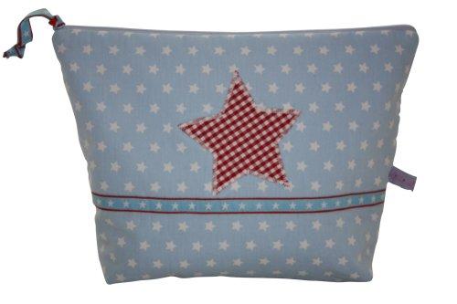 Lilli Löwenherz Stars Light Blue Grande trousse de toilette avec poche intérieure Motif étoiles sur fond bleu clair