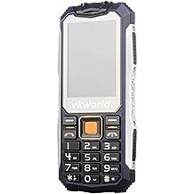 """Teléfono Móvil Libre,VKworld V3S Móviles de teclas grandes barato con Impermeable,a prueba de golpes,a prueba de polvo Teléfono celular rugged al aire libre teléfono móvil GSM para personas mayores(2G,2.4"""" Pantalla,Doble SIM,Cámara 0.3MP,Batería 2200mAh,32M+32M,radio FM,Bluetooth - Azul"""