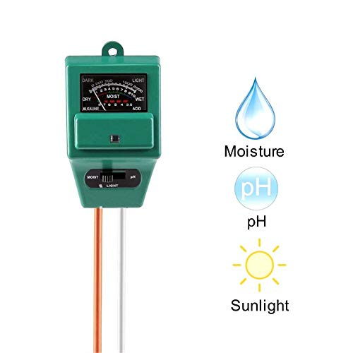 Probador de suelo 3 en 1, detector de jardinería, medidor de PH, higrómetro, medidor de iluminación, medidor de suelo, pH