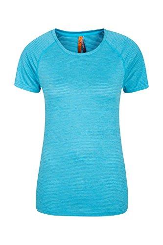 Mountain Warehouse Infinity Wicking Rundhals-Damen-T-Shirt - Leichtes Damen-T-Shirt, feuchtigkeitsableitend, Oberteil mit flachen Nähten - Ideal zum Reisen, Frühling Blau DE 42 (EU 44) (Infinity-sweatshirt)