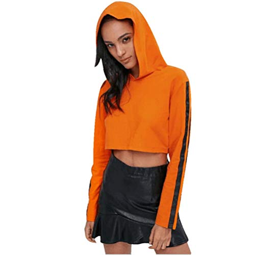 IMJONO Damen Langarmshirt Sweatshirt Pullover Arten von Mode-Stile Optional(EU-38/CN-L,Orange)