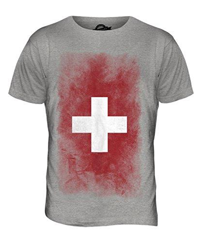 CandyMix Schweiz Verblichen Flagge Herren T Shirt Grau Meliert