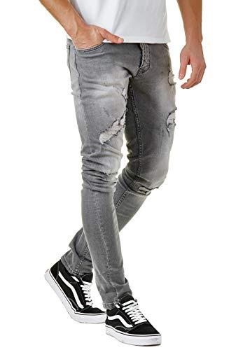 Herren Destroyed Jeans Grau Slim Fit Zerrissen Premium Denim BR3230, Farbe:Grau, Hosengröße:W32 L32 -