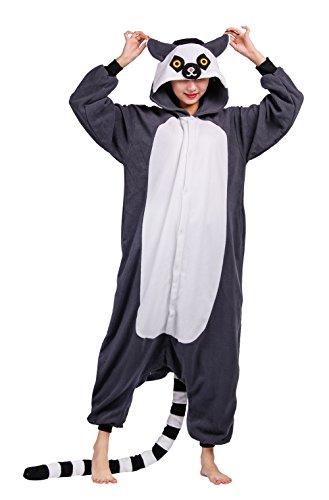 Wamvp Animaux Combinaison Pyjama Kigurumi Déguisement Costume Noël Halloween -Gris foncé S
