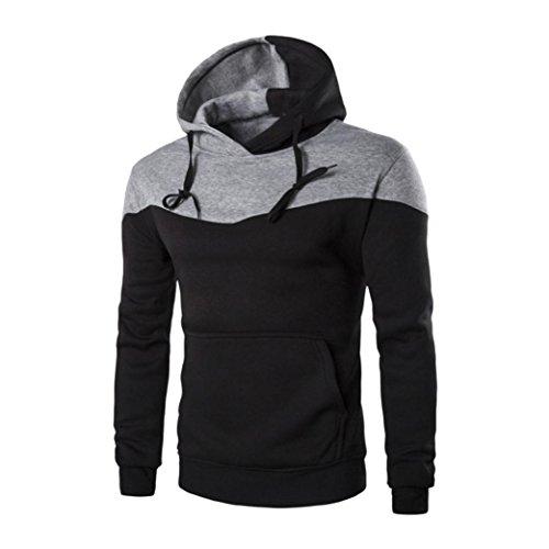Herren Dünner Hoodie Warmes Kapuze Sweatshirt, Zolimx Männer Jacken Pullover (L, Schwarz)