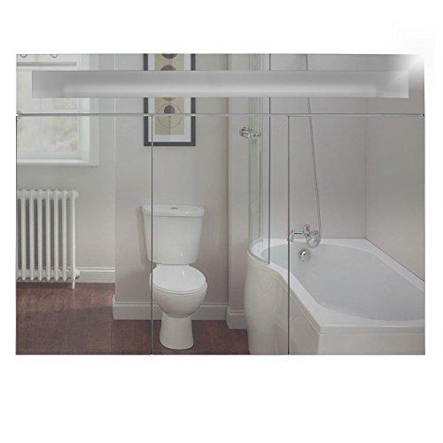 Badspiegelschrank beleuchtet BF01W90, 3-türig, 90x65x15cm, Weiss, inkl. Leuchtmittel - 3