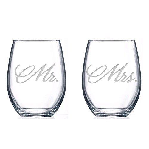 National Etching Mr et Mrs Verres à vin, sans pied, Lot de 2