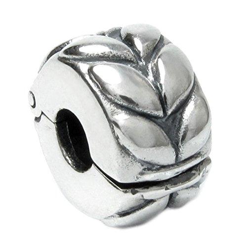 Queenberry Bead Charm Perle aus Sterlingsilber, Blatt-Design, Clip-Verschluss