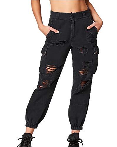 Hosen-stil Hose (Frauen Hosen Punk Stil Lässig Feste Lose Grat Loch Harem Hosen Cargo Baumwolle Im Freien Hosen)