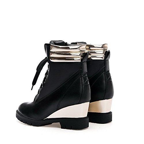 AllhqFashion Damen Zweifarbig Mittler Absatz Rund Zehe Gemischte Farbe Schnüren Stiefel, Schwarz, 41