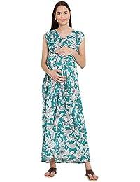 Mine4Nine Women's Rayon Maternity Maxi Dress (Green, MNDR3908)