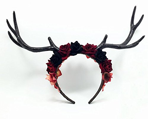 Halloween Christmas Easter big forest floral cosplay reindeer elk headband  black antlers