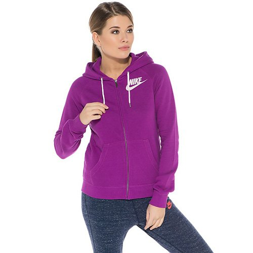 NIKE Pull à capuche Rally Full Zip Violet - Bold Berry/Weiß