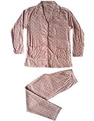 Damen Pyjama Schlafanzug mit Knopfleiste, Jersey in Milano-Ripp, Blumenmuster