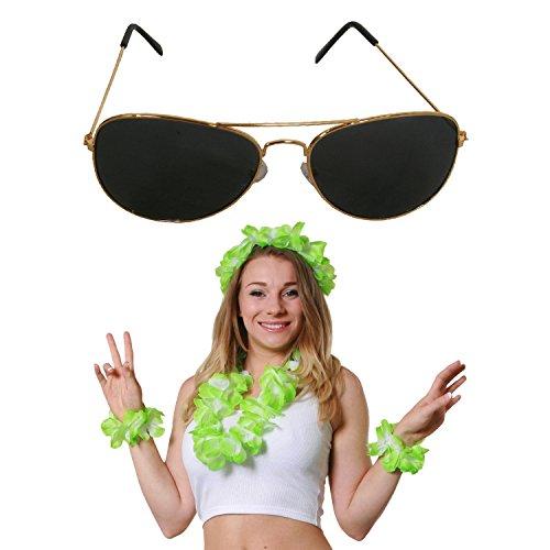 Fancy Kostüm Bing Dress - ILOVEFANCYDRESS GRÜNES Hawaii 4 TEILIGES LEI Set+Aviator Brille=SÜDSEE KOSTÜM ZUBEHÖR= ZUBEHÖR FÜR Jede SÜDSEE Party UND Fasching ODER Karneval =BLUMENKETTE + 2 Blumen ARMÄNDER + 1 Blumen Stirnband