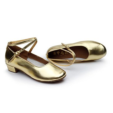 Kinder Tanzschuhe Kunstleder Moderne Sandalen Niedrige Ferse Innen Silver