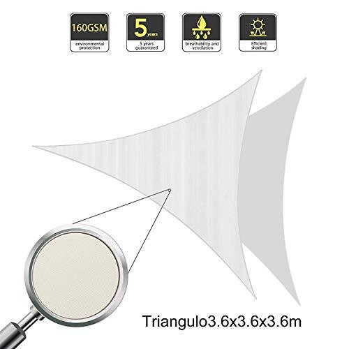 Sunnylaxx tenda a vela triangolare 3.6 x 3.6 x 3.6 metri, impermeabile e resistente, per spazi all'aperto, color crema