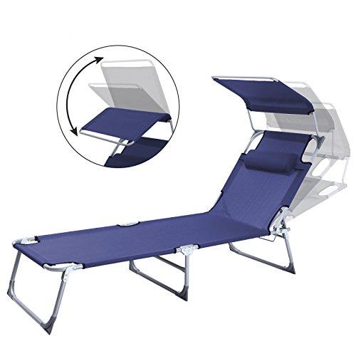 SONGMICS Sonnenliege mit Sonnendach extra groß, verstellbar, Liegestuhl klappbar mit Kopfkissen ,max. Belastbarkeit: 250 kg Grau 210 x 72 x 34 cm (Blau) - 3